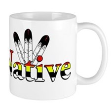 Native text with Eagle Feathers Mugs