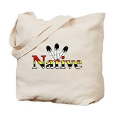 Native text with Eagle Feathers Tote Bag