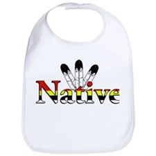 Native text with Eagle Feathers Bib
