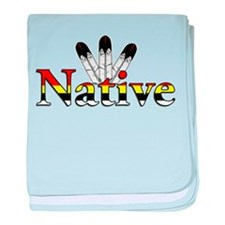 Native text with Eagle Feathers baby blanket
