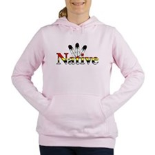 Native text with Eagle Feathers Women's Hooded Swe