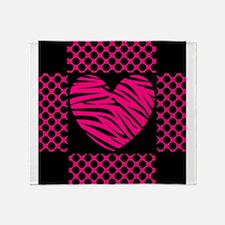 Hot Pink and Black Zebra Polka Dot Throw Blanket