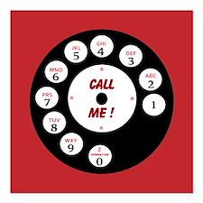"Call Me Rotary Dial Square Car Magnet 3"" x 3"""