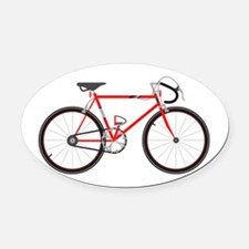 Red Road Bike Oval Car Magnet