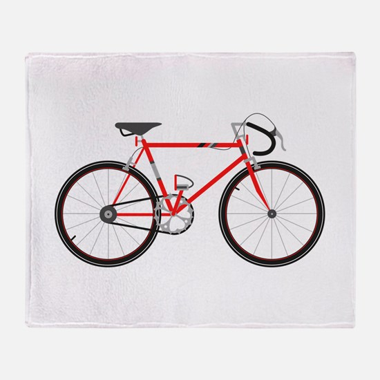 Red Road Bike Throw Blanket