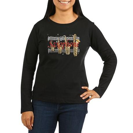 Saxophone Women's Long Sleeve Dark T-Shirt
