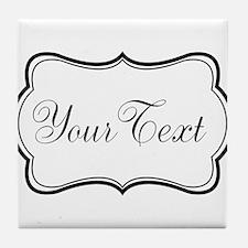 Personalizable Black and White Script Tile Coaster