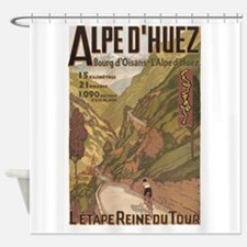 Alpe D' Huez, Bicycle, Vintage Shower Curtain