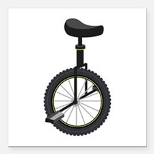 "Unicycle Square Car Magnet 3"" x 3"""