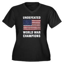 Undefeated W Women's Plus Size V-Neck Dark T-Shirt