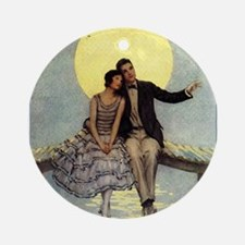 Romantic Couple; Vintage Art Ornament (Round)