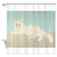 White Cat; Vintage Art Foujita Shower Curtain