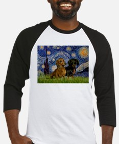 Starry Night & Dachshund Pair Baseball Jersey