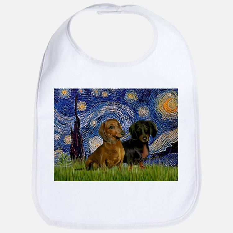Starry Night & Dachshund Pair Bib