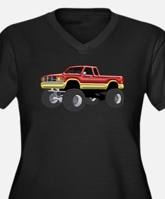 Marvelous Monster Truck Red & Gold Plus Size T-Shi