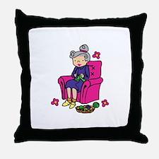 Knitting Grandma Throw Pillow