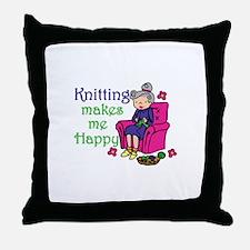 Knitting makes me happy Throw Pillow