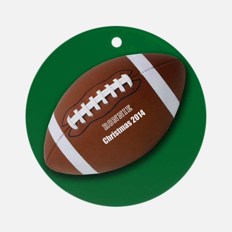 Personalized Football Christmas Ornament (round)