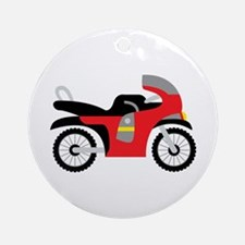 Red Motorcycle Ornament (Round)