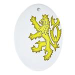 Heraldic Gold Lion Oval Ornament