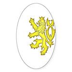 Heraldic Gold Lion Oval Sticker