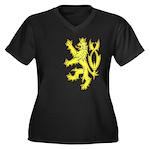 Heraldic Gold Lion Women's Plus Size V-Neck Dark T