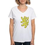 Heraldic Gold Lion Women's V-Neck T-Shirt