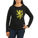 Heraldic Gold Lion Women's Long Sleeve Dark T-Shir