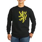 Heraldic Gold Lion Long Sleeve Dark T-Shirt