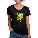 Heraldic Gold Lion Women's V-Neck Dark T-Shirt