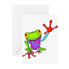 Waving Poison Dart Frog Greeting Cards