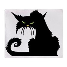 Angry Pissed Off Black Cat Throw Blanket