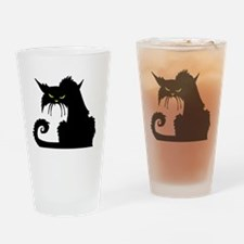 Angry Pissed Off Black Cat Drinking Glass