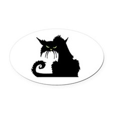 Angry Pissed Off Black Cat Oval Car Magnet