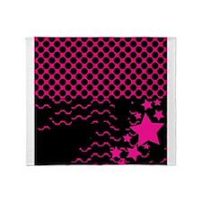 Pink Stars Black Polka Dots Throw Blanket