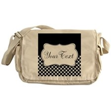 Personalizable Black and White Messenger Bag