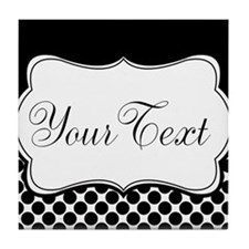 Personalizable Black and White Tile Coaster