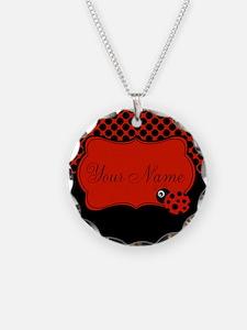 Personalizable Ladybug Polk Dots Necklace
