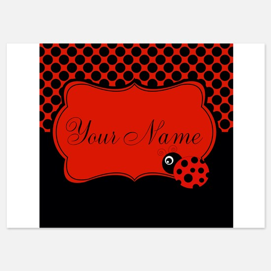 Personalizable Ladybug Polk Dots Invitations