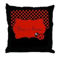 Personalizable Ladybug Polk Dots Throw Pillow