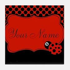 Personalizable Ladybug Polk Dots Tile Coaster