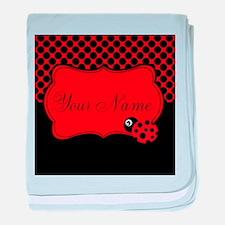 Personalizable Ladybug Polk Dots baby blanket