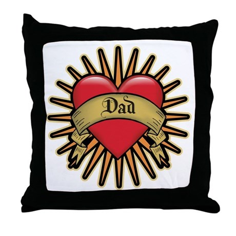 Father's Day Red Heart Dad Tattoo Throw Pillow