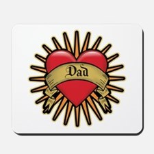 Father's Day Red Heart Dad Tattoo Mousepad