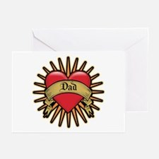 Father's Day Red Heart Dad Tattoo Greeting Cards