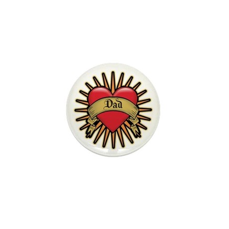 Father's Day Red Heart Dad Tattoo Mini Button (10