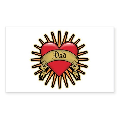 Father's Day Red Heart Dad Tattoo Sticker (Rectang