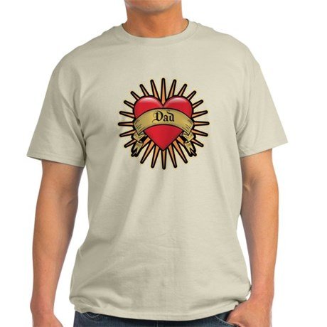 Father's Day Red Heart Dad Tattoo Light T-Shirt