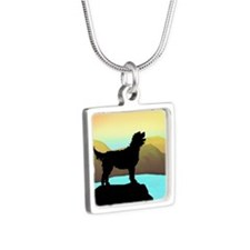 Labradoodle By The Sea Silver Square Necklace