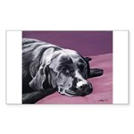 Black Labrador Beauty Sleep Rectangle Sticker